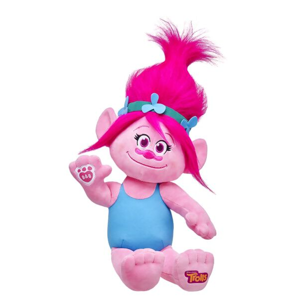 Positively Poppy! This adorable little Troll is always ready for hugs! With her stylable hot pink hair, flower hairband and DreamWorks Trolls logo on her foot, Poppy can be made even sweeter with her signature dress, hair extensions and sounds.DreamWorks Trolls © 2016 DreamWorks Animation LLC. All Rights Reserved.