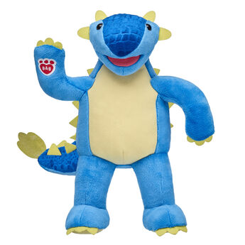 blue ankylosaurus dino plush standing and waiving