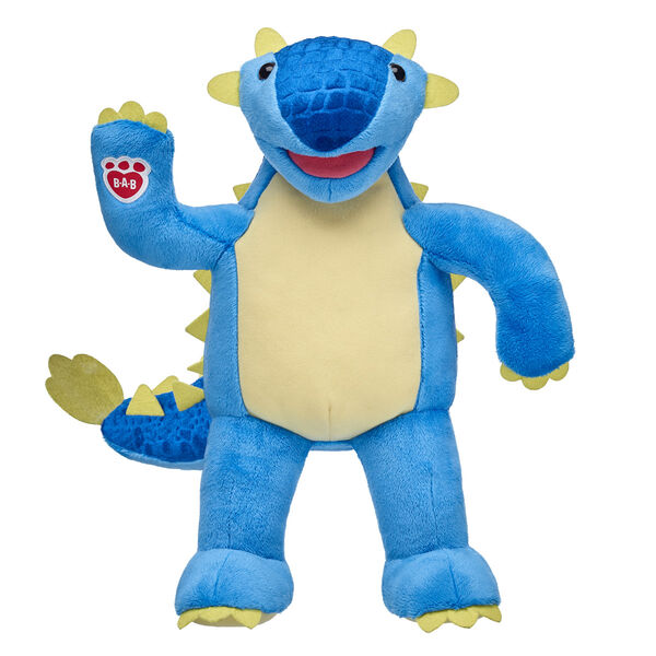 blue ankylosaurus dino plush standing and waiving