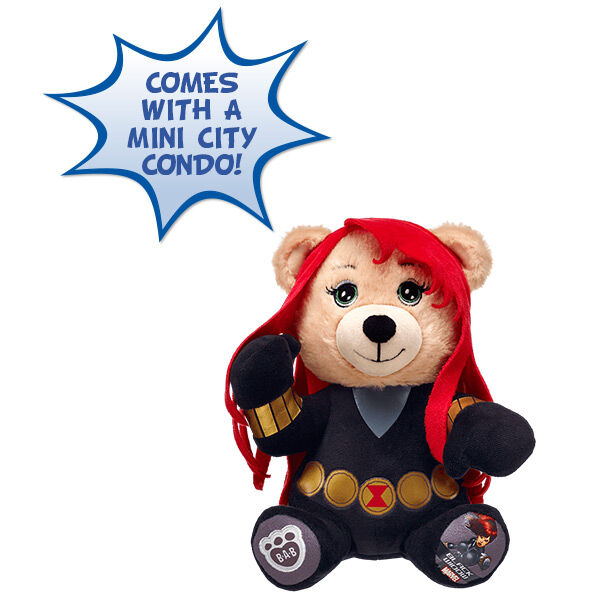 Save the day with 20cm Marvel Mega Minis Black Widow Bear. This heroic bear is inspired by Black Widow. Plus, it comes in a Mini City Condo. Create your own city with the condos. Stack 'em up & knock 'em down! © 2016 Marvel