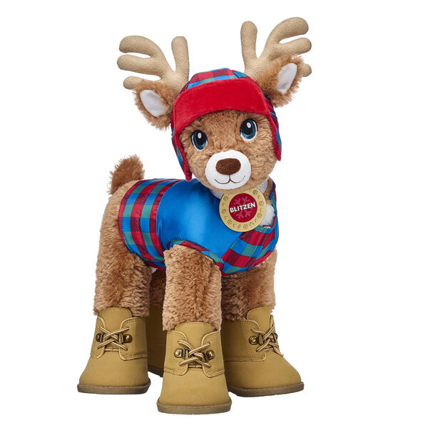 Nicknamed The Dare Deer, Blitzen is an expert snowboarder who has a thing for adventure. With his plaid reindeer jacket, matching hat and brown boots, this complete stuffed animal gift set has everything Blitzen needs for playing all winter long!