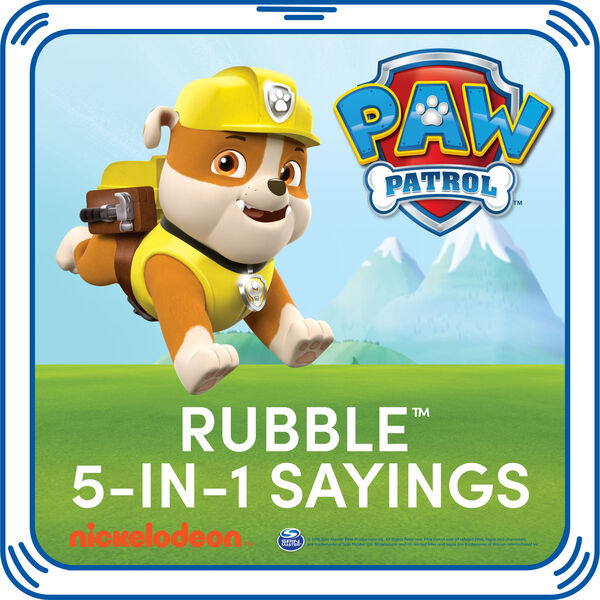 Let's dig it! Add Rubble's signature sayings to your furry friend. This pup's playful phrases are the PAWfect addition to any PAW Patrol furry friend. © 2016 Spin Master PAW Productions Inc. All Rights Reserved. PAW Patrol and all related titles, logos and characters are trademarks of Spin Master Ltd. Nickelodeon and all related titles and logos are trademarks of Viacom International Inc.