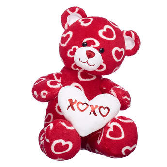red teddy bear with hearts and stuffed plush heart valentines day gift set