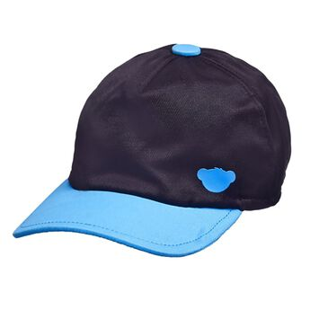 Top things off with this classic ball cap! Any furry friend will look casual and sporty in this black ball cap with a teal blue brim and bear emblem.