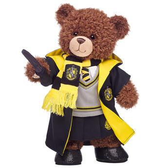 Harry Potter Bear Hufflepuff Gift Bundle with House Robe, Scarf, Hogwarts Skirt & Wand, , hi-res