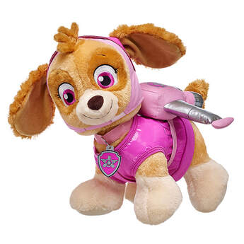 This pup's gotta fly! Skye's Pup Pack is a pink backpack with silver helicopter wings.© 2016 Spin Master PAW Productions Inc. All Rights Reserved. PAW Patrol and all related titles, logos and characters are trademarks of Spin Master Ltd. Nickelodeon and all related titles and logos are trademarks of Viacom International Inc.