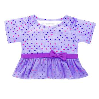 This fashionable dress is a perfect fit for the first day of school! Your furry friend will look lovely in this lavender dress with colourful hearts, stars and bears, mesh ruffle and pretty purple bow.