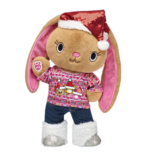 Have a PAWsome Christmas season with Pawlette! This sweet kawaii bunny has soft brown fur, pink paw pads and super floppy ears. This lovable kawaii bunny plush toy comes with a rockin' Christmas outfit and sequin Santa hat!