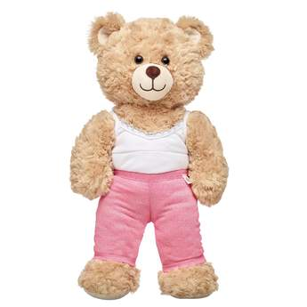 Your furry friend's exercise wardrobe gets a sparkly pink upgrade with this fun pair of leggings for teddy bears! Outfit a furry friend online to make the perfect gift. Make your own your own stuffed animal online with our Bear Builder or visit a store near you.