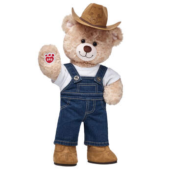 Yee-haw! Saddle up for a boot-scootin' gift idea that's cute as can be! This teddy bear farmer gift set makes a fun surprise for any cowboy, cowgirl, farmer or lover of the outdoors. <p>Price includes:</p>  <ul>    <li>Happy Hugs Teddy</li>     <li>Denim Overalls</li>    <li>White T-Shirt</li>    <li>Classic Cowboy Boots</li>    <li>Brown Cattleman Cowboy Hat</li> </ul>