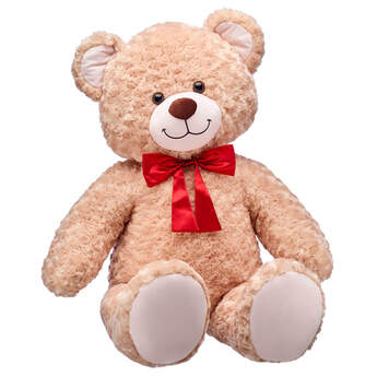 Online Exclusive Jumbo Happy Hugs Teddy with Red Bow, , hi-res