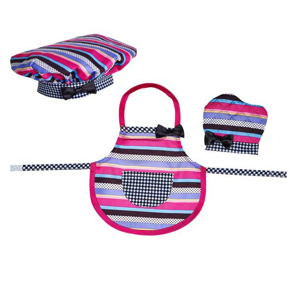 Your furry friend can bake up some fun with a Baking Apron, Hat & Mitt set. All pieces feature colourful stripes with a fun pattern. Don't forget to buy a matching kid-size set for you, too!