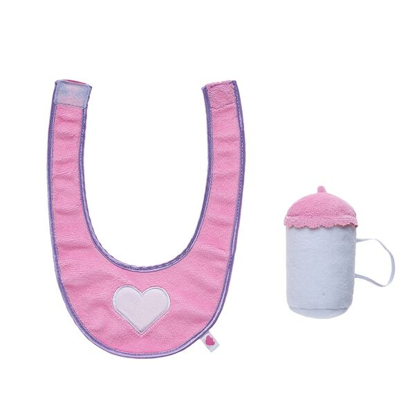 Give a cute gift to any new baby by dressing a furry friend in this adorable baby bottle and bib set. With a pink and purple bib and matching bottle wristie, this charming stuffed animal accessory set is sure to please any new parent.