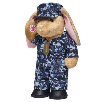 plush bunny in digital camo stuffed animal clothes