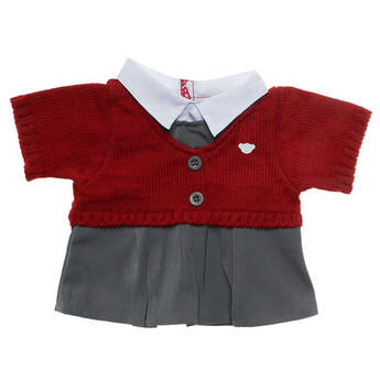 Class is in session! Your furry friend will be ready for school in this Red & Grey School Uniform. The red jumper has a bear head on the left chest and is paired with a grey pinafore that has a white collar underneath.