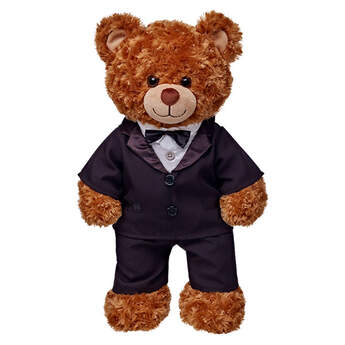 The pawfect furry formal wear! Teddy bear size tuxedo includes a black jacket with bowtie and black pants.