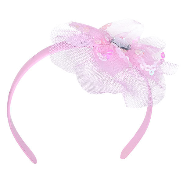 Teddy bear size pink headband has a cute tulle, sequin and gem pouf.