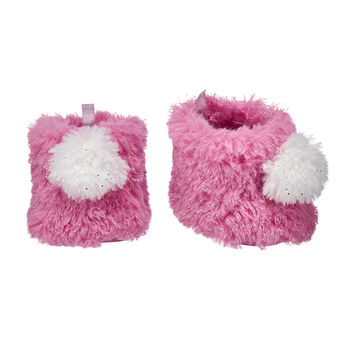 Step to it! These sparkly pink fur boots are a must-have addition to any furry friend's outfit! These fuzzy boots feature a white pom on the front, too.