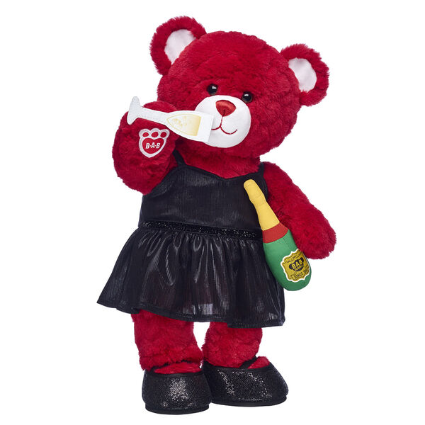 red teddy bear with black dress and plush champagne valentines day gift set