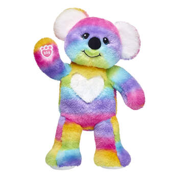 Make your own marsupial! This bright and lovable koala makes a KOALITY friend for animal lovers of all ages! All the way from the Rainbow Outback, this adorable koala stuffed animal has soft rainbow fur with a white heart on its chest. Make your fluffy koala your own by personalising it with outfits, sounds and accessories!