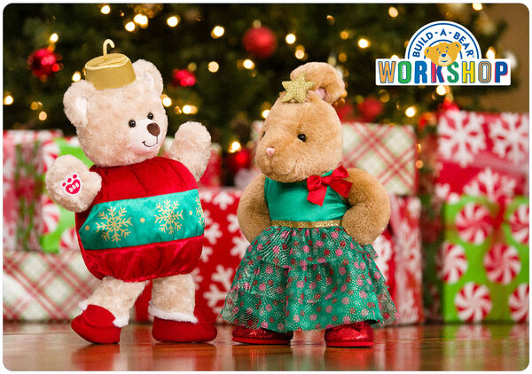 Do the jingle bear rock with an e-gift card to Build-A-Bear Workshop! This fun e-gift card is a fast way to put a big smile on someone's face this Christmas.