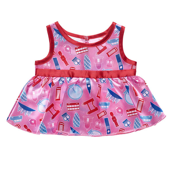Hello, London! Dress your furry friend in this lovely London Dress. This pink and red dress has an all-over pattern of multiple British icons, including double-decker buses, Big Ben, telephone booths and the London Eye.