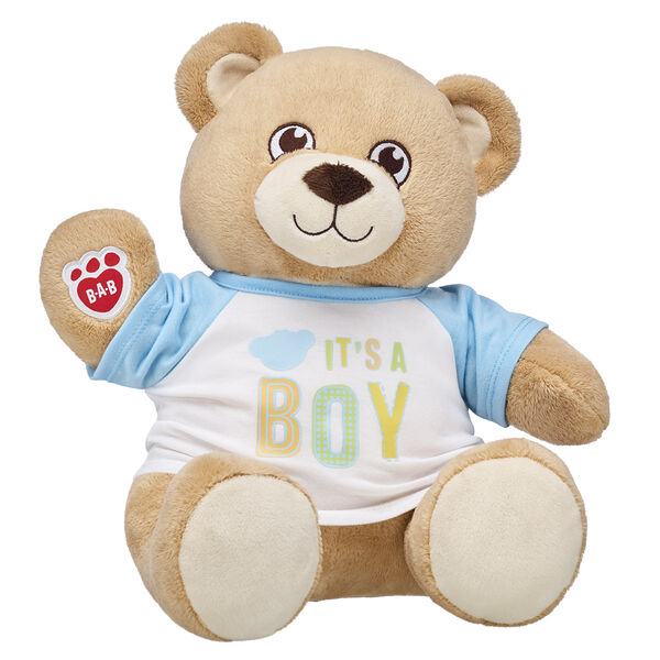 Share the most exciting news with an adorable and asthma-friendly teddy bear gift set from Build-A-Bear Workshop! With super soft fur and a warm loving smile, Velvet Hugs Teddy is sure to be a forever friend. This teddy bear meets asthma and allergy-friendly standards according to the Allergy Foundation of America, making it the perfect gift for little baby boys! Whether you're doing the big reveal yourself or giving this special teddy as a gift, this is the perfect choice for making an unforgettable memory. ASTHMA FRIENDLY and ASTHMA FRIENDLY LOGO are certification marks and registered trademarks of Allergy Standards Limited. <p>Price includes:</p>  <ul>    <li>Velvet Hugs Teddy</li>    <li>It's A Boy T-Shirt</li> </ul>