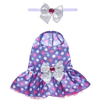 Here's a totally chic look for your reindeer furry friend this Christmas! This purple dress features colourful polka dots and has a sparkly silver bow on the back. Plus, this reindeer dress includes a matching bow headband for your furry friend!
