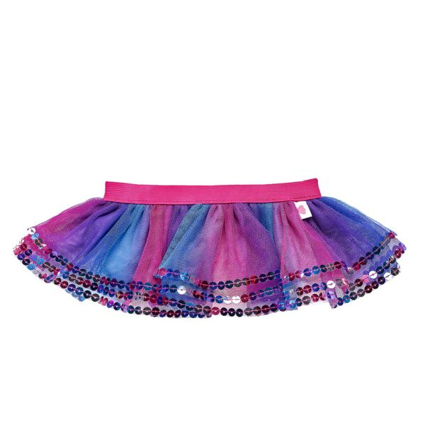 You can never have too many colours or sparkles, and this mutlicolour sequin tutu has plenty of them both! The tulle tutu is a pretty blend of blue, pink and purple colours with a bright pink waistband. An array of sequins adorns the trim of the skirt for an added touch of glamour!