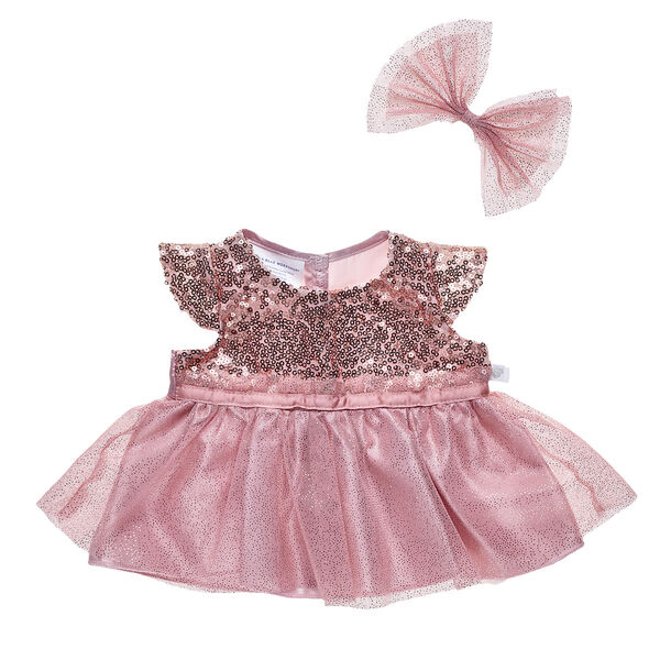 Rose Gold Sequin Dress and Bow 2 pc., , hi-res