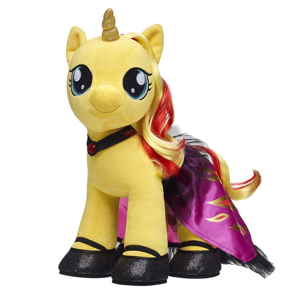 Spread the magic of friendship with this awesome pony gift set! Sunset Shimmer is a unicorn pony prodigy who comes fully dressed in her beautiful cape and sparkly flats. Pony up and give them a gift they'll never forget! MY LITTLE PONY and all related characters are trademarks of Hasbro and are used with permission. © 2018 Hasbro. All Rights Reserved. <p>Price includes:</p>  <ul>    <li>MY LITTLE PONY SUNSET SHIMMER Furry Friend</li>     <li>MY LITTLE PONY SUNSET SHIMMER Cape 2 pc.</li>    <li>2 Pairs of Black Sparkle Flats</li> </ul>