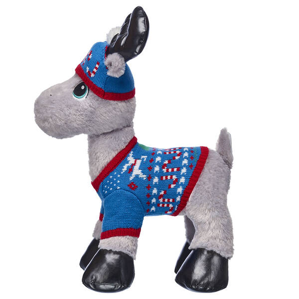 Have a cool yule with this adorable Christmas outfit for your furry friend! This blue and red sweater and hat set is specially made for four-legged furry friends and features a festive reindeer and candy cane pattern.