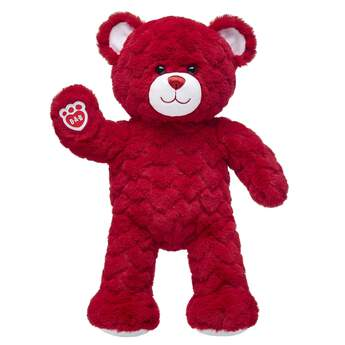 Red Hearts Teddy Bear Plush Sitting and Waiving