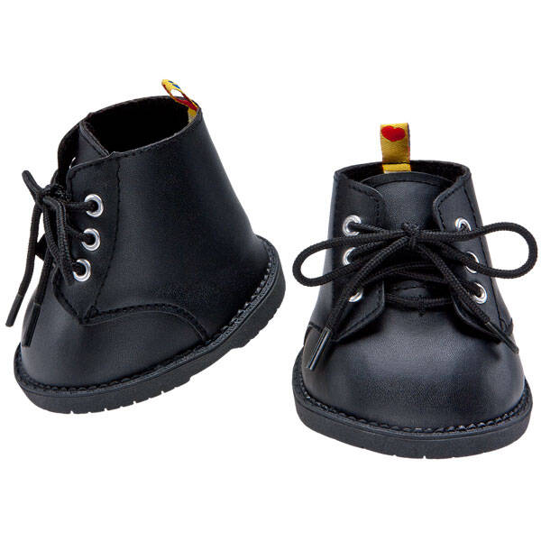 Teddy bear size black combat boots look cool with any outfit.