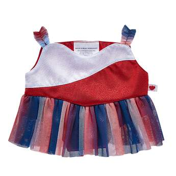 Dress a furry friend in this pretty ice skating dress to make a perfect gift! This red, white and blue dress has a tulle skirt portion.