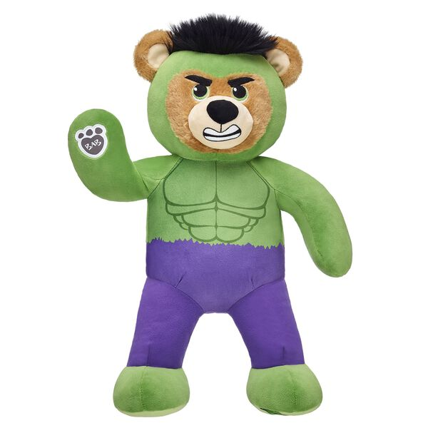 Hulk Smash! This muscular furry friend features a built-in Hulk costume and comes with his mighty Hulk hands and 5-in-1 sayings. © 2017 Marve
