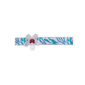 Top off Risa's signature style with her Silver Flower Headband. The band features a cool turquoise and fuchsia zebra print.