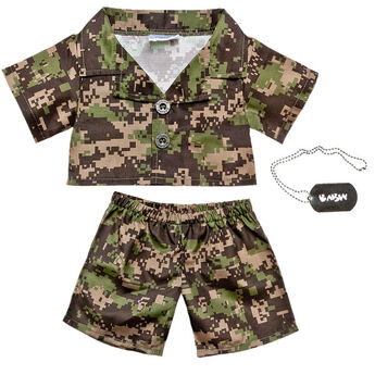 This green camoflauge outfit comes with a silver BABW ID tag on a chain. Don't let your furry friend get lost in the yard!