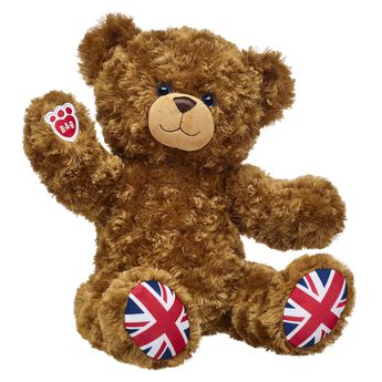 Give bear hugs! Union Jack Bear has a classic look with Union Jacks on its paw pads. This fuzzy brown bear features posable arms and legs and makes a perfect gift!