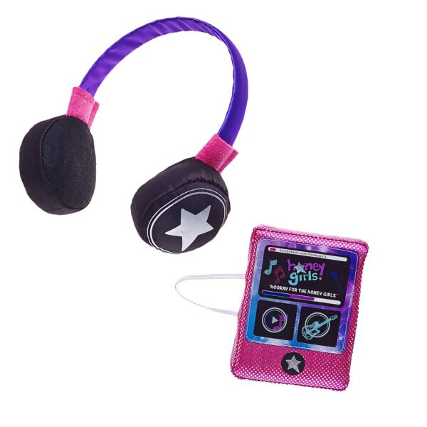 The Honey Girls love nothing more than sharing their music with the world. Now your furry friends can feel the beat wherever they are with this plush toy MP3 player! This two-piece set features a pretend MP3 player with the Honey Girls logo and comes with a matching pair of play headphones. The MP3 player features an elastic band to ensure it easily attaches to your furry friend's paw. Hooray for the Honey Girls!