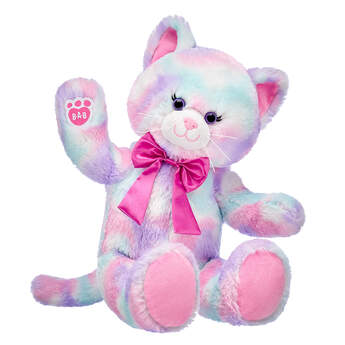 Online Exclusive Pastel Swirl Kitty with Pink Bow, , hi-res