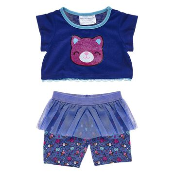 "Catlynn is a colorful cat who loves to stay active, so this ""skegging"" set is the Perfect outfit! These ice cream print leggings have a blue tutu skirt."