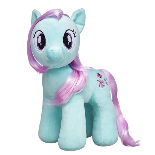 This classic MY LITTLE PONY character makes her furry friend debut! MINTY has soft cool mint-colored fur and a long pink mane and tail. The peppermint candies on her cutie mark let everyone know how sweet she is!MY LITTLE PONY and all related characters are trademarks of Hasbro and are used with permission.© 2016 Hasbro. All Rights Reserved.