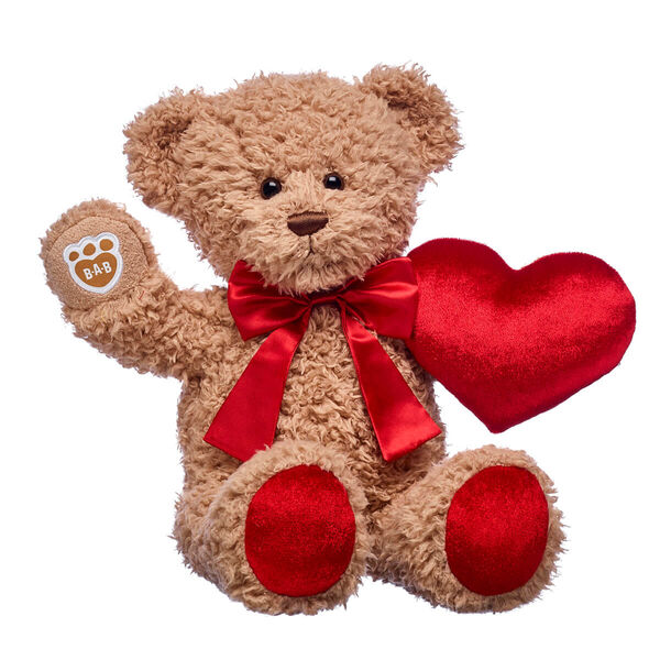 teddy bear valentines day gift set with red bow and plush heart