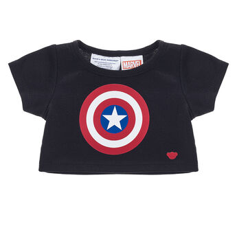 Give your furry friend a heroic look with this awesome T-shirt! This black T-shirt features the iconic Captain America shield on the front. © 2018 MARVEL
