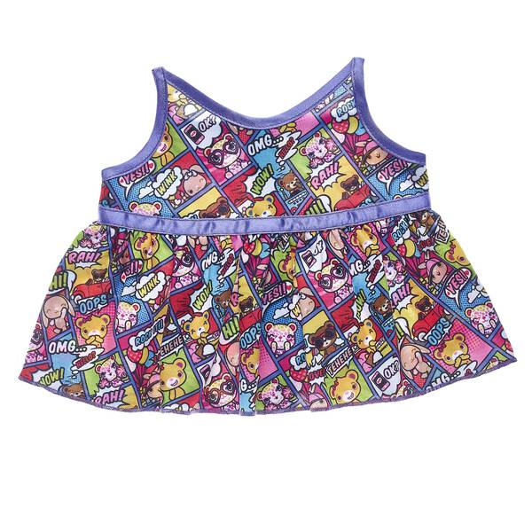 PAWsome! This colorful dress features an all-over comic strip pattern of your favorite Kabu friends! this cute dress is a super fun style choice.