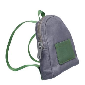 The perfect size for carrying your furry friend's belongings, this miniature backpack looks adorable with any outfit. This grey backpack has forest green straps and a pouch on the back. Add this cute backpack to any furry friend's look to make a perfect gift for the special student in your life!