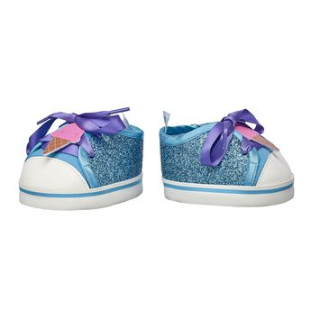 These glittery shoes will let your Kabu friend always walk in confidence! These bright blue sneakers have purple laces with an adorable ice cream cone right in the middle! Shop online or in store at Build-A-Bear Workshop!