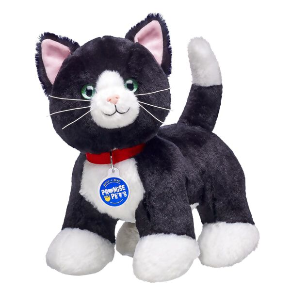 Tuxedo Cats are known for their fancy markings. These black cats have white patches on their chests and paws that look like a tuxedo. These happy, relaxed kitties love to play. Personalise your Tuxedo Cat with outfits and accessories to make the perfect unique gift!