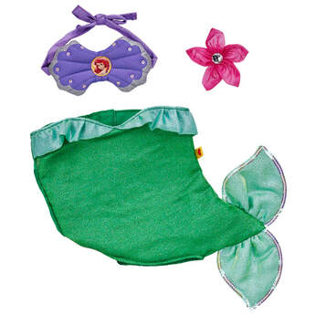 Authentic 3 pc. Ariel Costume includes mermaid dress, seashell top and flower bow. Disney